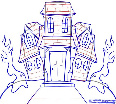 how to draw a haunted house how to draw a haunted house step by step halloween seasonal how to draw