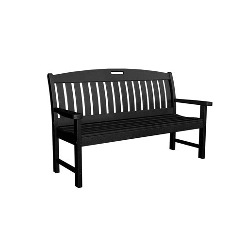 outdoor black bench polywood nautical 60 in black plastic outdoor patio bench