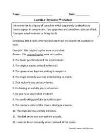 oxymoron figurative language worksheets englishlinx com