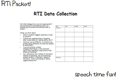 Rti Pre Referral Speech Language Materials Rti Documentation Templates