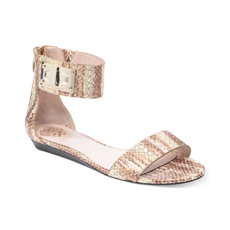 vince camuto sandals sale vince camuto ryker flat sandals in gold metallic lyst