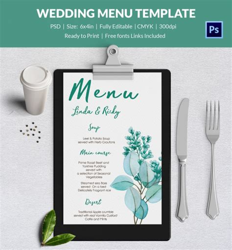 wedding menu template 44 free word pdf psd eps