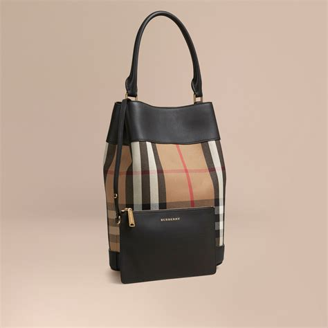 House Bags by Burberry The Bag In House Check And Leather Black
