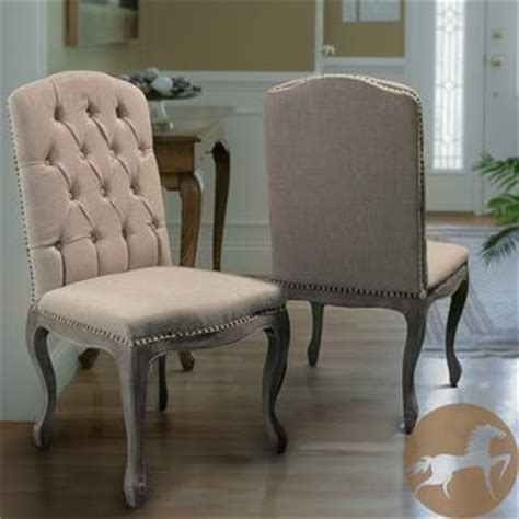 Great Fabric For Dining Room Chairs Weathered Hardwood Studded Beige Dining Chair Set Of 2