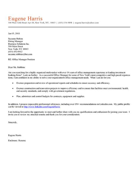 cover letter for office office manager cover letter exle