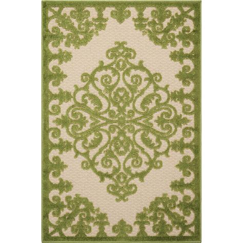 Green Indoor Outdoor Rug Nourison Aloha Green 2 Ft 8 In X 4 Ft Indoor Outdoor Accent Rug 299109 The Home Depot
