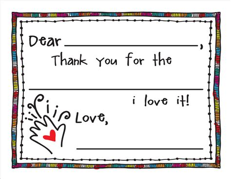 printable kid thank you cards with fill in the blanks a special dollar download fill in thank you cards for