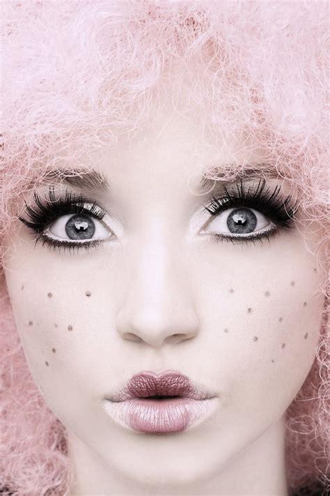porcelain doll lipstick pastel wearingblack