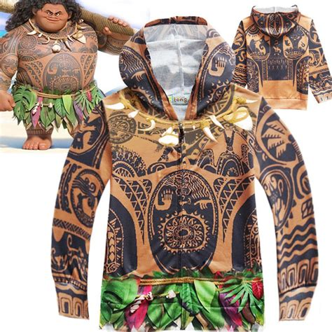 tattoo costume ideas kids boys moana maui tattoo cosplay hooded sweatshirt