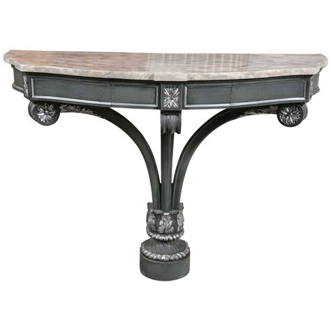 marble top console hollywood regency demilune marble top console table for