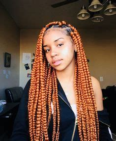 orange and red box braids ~ pinterest: @xpiink ♚ | • hair