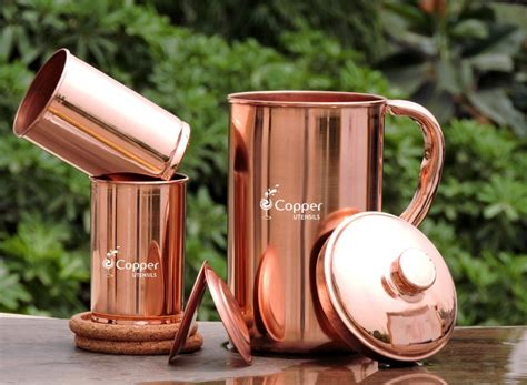 Copper Detox Coffee by Copper Jug With Two Plain Tumbler Glass Set