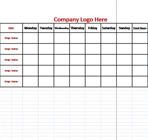 team work schedule template blank work schedule template image search results
