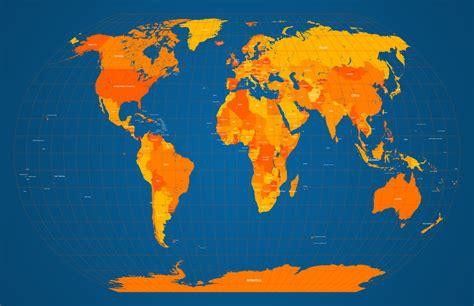 orange map world map in orange and blue by michael tompsett