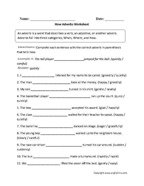 Adverb Worksheets 4th Grade