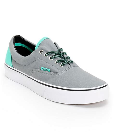 Vans Era Grey Green vans era grey electric green canvas skate shoes mens at zumiez pdp