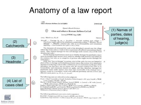 layout of a law report finding case law
