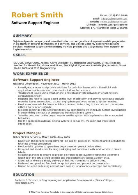 resume format for it support engineer software support engineer resume sles qwikresume