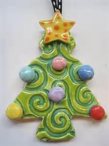 whimsical christmas tree ceramic ornament