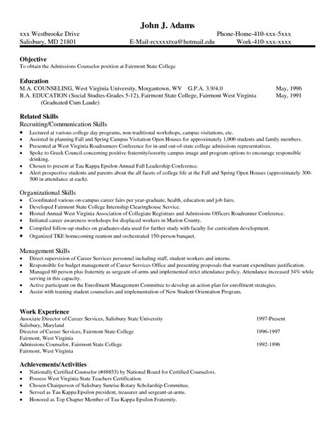 admissions counselor resume resume ideas