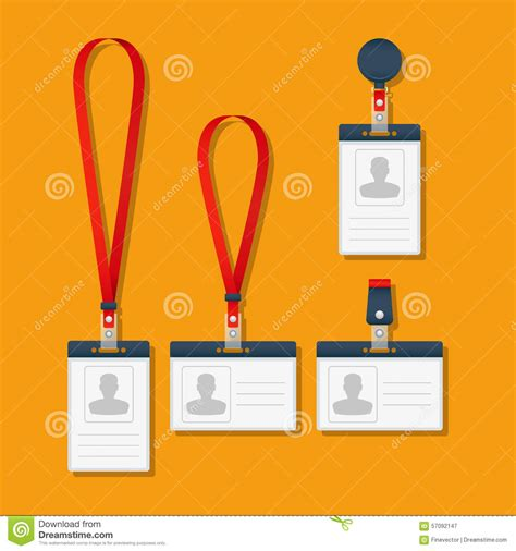 Lanyard Name Tag Holder And Badge Templates Stock Vector Image 57092147 Lanyard Name Badge Template