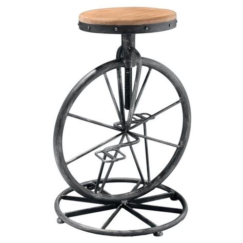 adjustable kitchen stools with wheels trent home 26 quot davide bicycle wheel adjustable bar stool