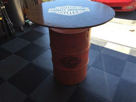 Harley Davidson Table by Orange And Black Harley Davidson Barrel Table