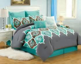 Moroccan Duvet Set 8 Pc Teal Grey Ogee Queen Comforter Set Boho Gray Blue