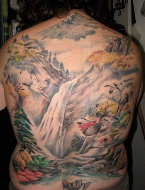japanese waterfall tattoo designs waterfall landscape back tattooed