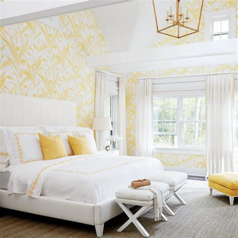yellow wallpaper bedroom bedroom vaulted ceiling design ideas