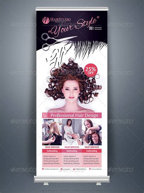 free hair salon posters and banners roll up banner designs design trends premium psd