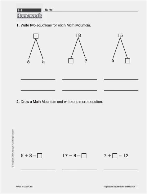 Math Mountain Worksheets by Math Mountain Worksheets For 1st Grade Worksheet Exle