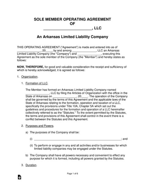 Free Arkansas Single Member Llc Operating Agreement Form Word Pdf Eforms Free Fillable Forms Arkansas Will Template