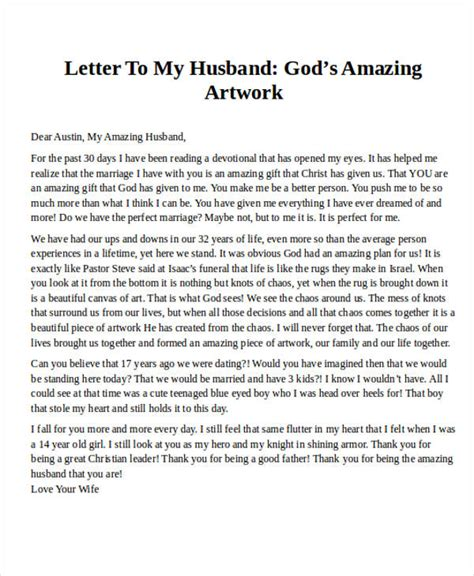 thank you letter for husband letter exles