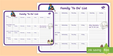 Family To Do List Planning Template Young People Families Buddy Checklist Template
