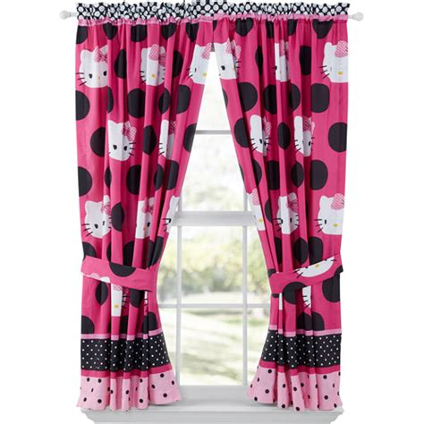 hello kitty drapes hello kitty dotted in pink window panels set of 2 pink