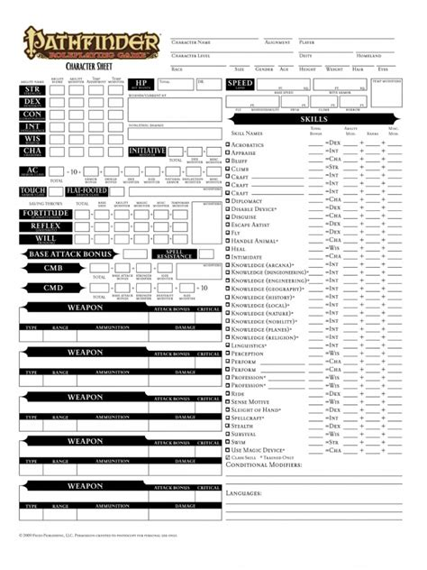 pathfinder templates editable pathfinder character sheet