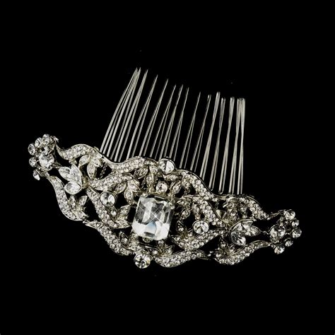 Vintage Bridal Hair Combs by Antique Silver Rhinestone Side Comb Bridal Hair