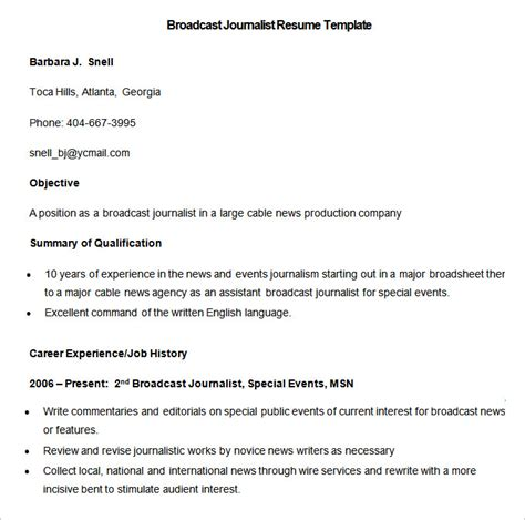 Resume For Fresher Journalist by Media Resume Template 31 Free Sles Exles Format