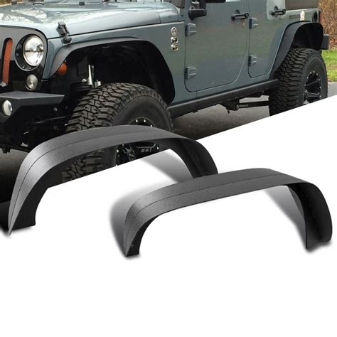 jeep jk flat fender flares 07 16 jeep wrangler jk textured black steel flat fender