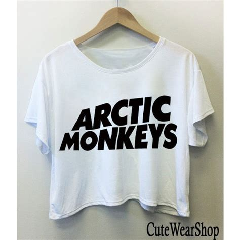 T Shirt Band Arctic Monkeys arctic monkeys band logo crop top crop black and white