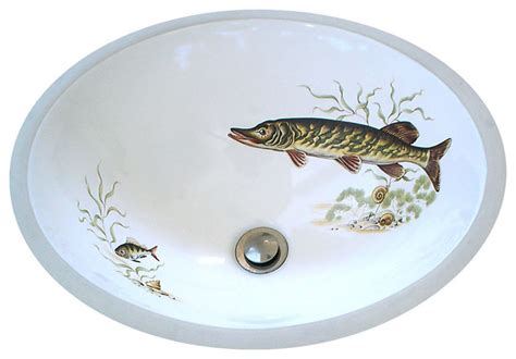 hand painted bathroom sinks muskie lodge design hand painted sink rustic bathroom