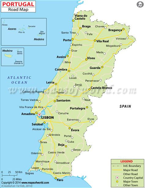 printable map portugal portugal road map