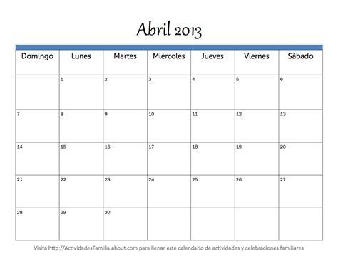Calendario De Abril Calendario Abril 2013 Universo Guia