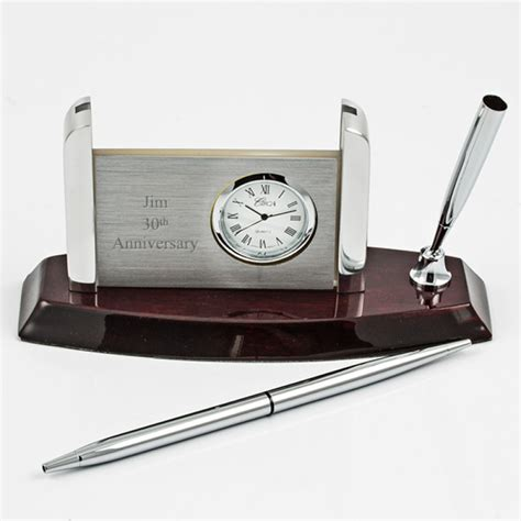 011206 mahogany silver clock card pen desk set