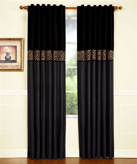 tan curtains black tan zebra curtain panel