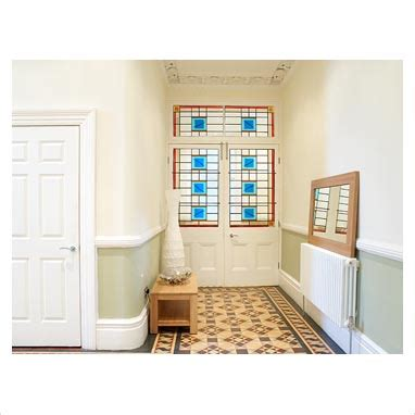 gap interiors classic hallway with wallpaper above dado gap interiors hallway with patterned tiled floor and