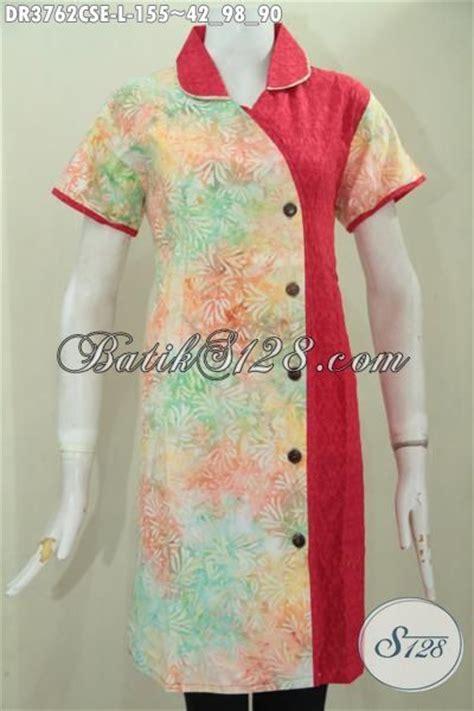 Blus Batik Embos Cap Ba6776 baju batik dress proses cap smoke kombinasi kain katun dan