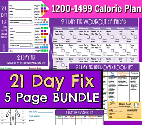21 Day Fix Worksheets by 21 Day Fix Printables 1200 1499 5 Page Pdf By