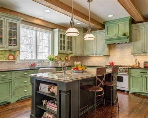 Green Kitchen Cabinets by Country Kitchen Ideas With Black Rustic Island And